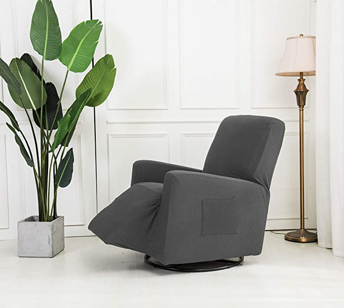 Mk Collection Stretch to Fit Recliner Slipcover Solid Light Grey New