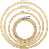 GOELX Wooden Embroidery Hoop/Frame for Crafters & Designers. Set of 5 different sizes 4, 6, 8, 10, 12 inches