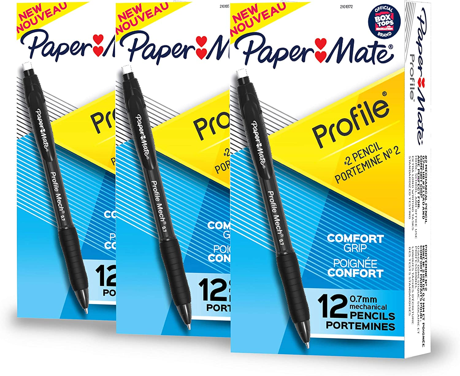 Paper Mate Profile Mech Mechanical Pencil Set, 0.7mm #2 Pencil Lead, Black Barrel, Great for Home, School, Office Use (36 Count) : Office Products