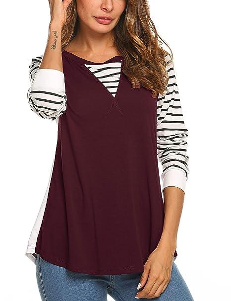 2b47ba8ddcb Amazon.com  Tobrief Womens Raglan Long Sleeve Baseball T Shirt Patchwork  Striped Tops  Clothing