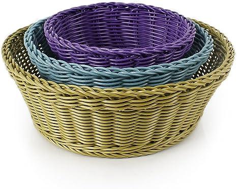 Amazon Com Neoflam 3 Piece Plasket Poly Wicker Round Baskets Set Multi Kitchen Dining