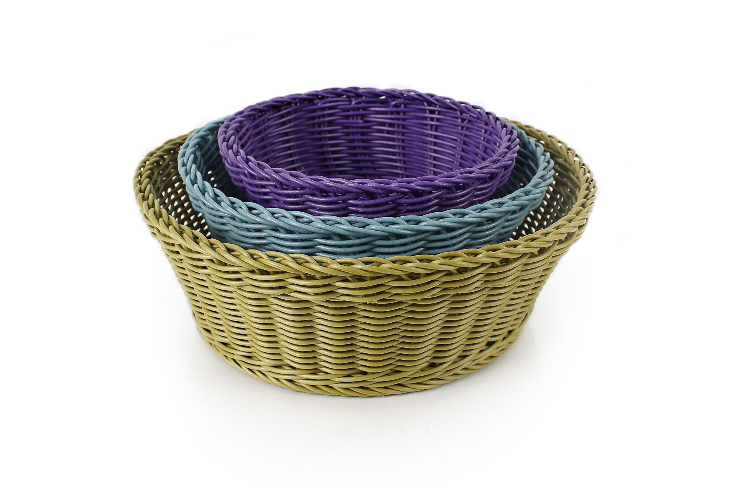 Neoflam 3-Piece Plasket Poly-Wicker Round Baskets Set