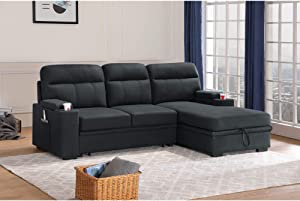 Lilola Home Kaden Black Fabric Sleeper Sectional Sofa Chaise with Storage Arms and Cupholder