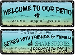 flinelife Welcome to Our Patio Metal Sign, 16 x 6,Outdoor Decoration for Patio, Porch, Pool,Outdoor Wall Decor