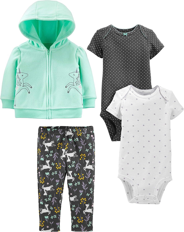 Simple Joys by Carter's Girls' 4-Piece Fleece Jacket, Pant, and Bodysuit Set