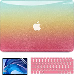 B BELK MacBook Air 13 Inch Case 2021 2020 2019 2018 Release A2337 M1 A2179 A1932, 3D Rainbow Colorful Smooth Plastic Hard Case with Keyboard Cover+ Screen Skin, MacBook Air 2020 Case Touch ID Retina