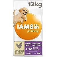 IAMS for Vitality Hondenvoer voor puppy's grote rassen met verse kip, 12 kg