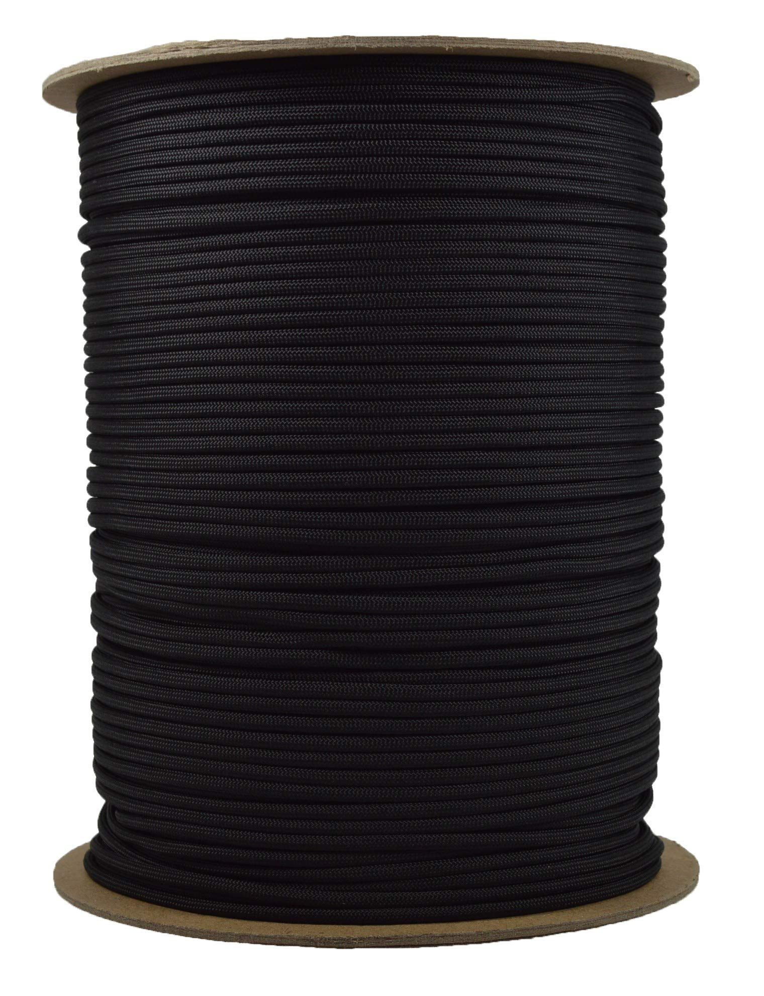 Black Mil-Spec Commercial Grade 550lb Type III Nylon Paracord - 1000 Foot Spool