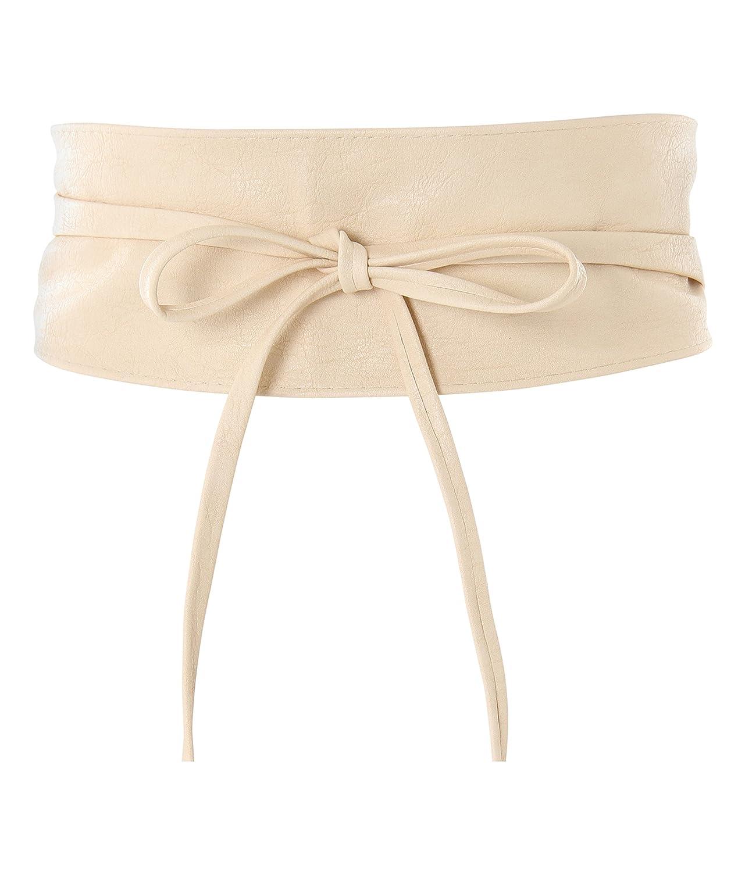 KRISP Soft Faux Leather Self Tie Wrap Around Obi Waist Belt (CAN14987-TAN-OS)