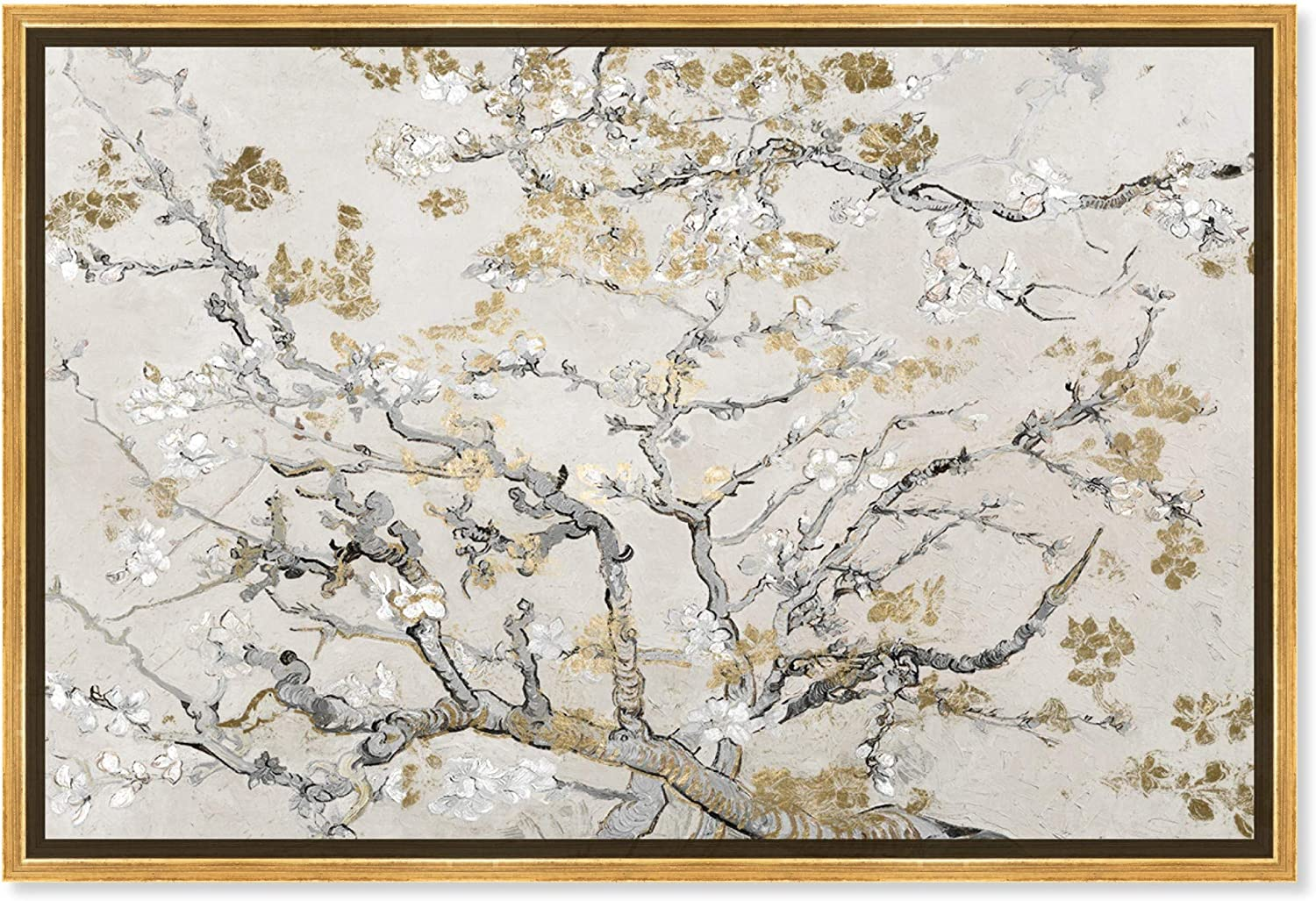 The Oliver Gal Artist Co. Classic and Figurative Framed Wall Art Canvas Prints 'Van Gogh Blossoms Inspiration Light' Impressionism Home Décor, 45