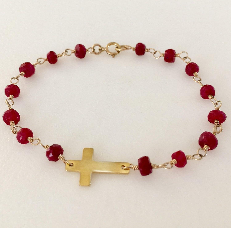 handmade Minimalist amazonite ruby bracelet 24K gold-plated gem bracelet,artisanal