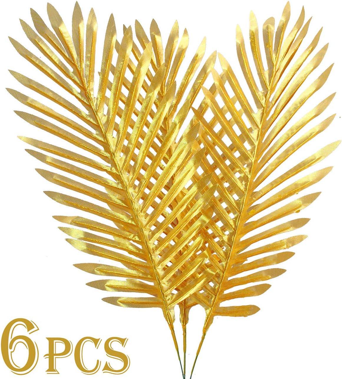 "6PCS Artificial Palm Plants Leaves Imitation Leaf Artificial Plants Faux Fake Tropical Large for Home Arrangement Jungle Birthday Party Wedding Decoration Supplies (27"" Golden Palm Leaves)"