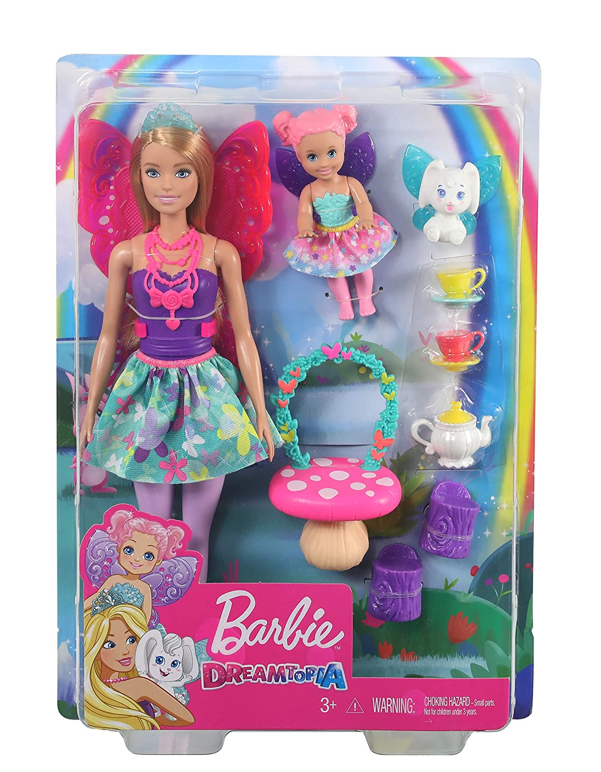 Pet and Accessories Toddler Doll Multi Barbie Dreamtopia Tea Party Playset with Barbie Fairy Doll Tea Set