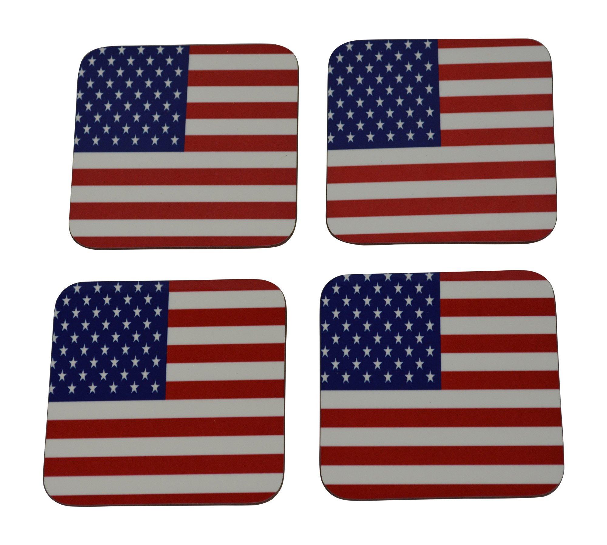 Patriotic USA Flag Drink Coaster Set Gift United States of America Home Kitchen Bar Barware Old Glory