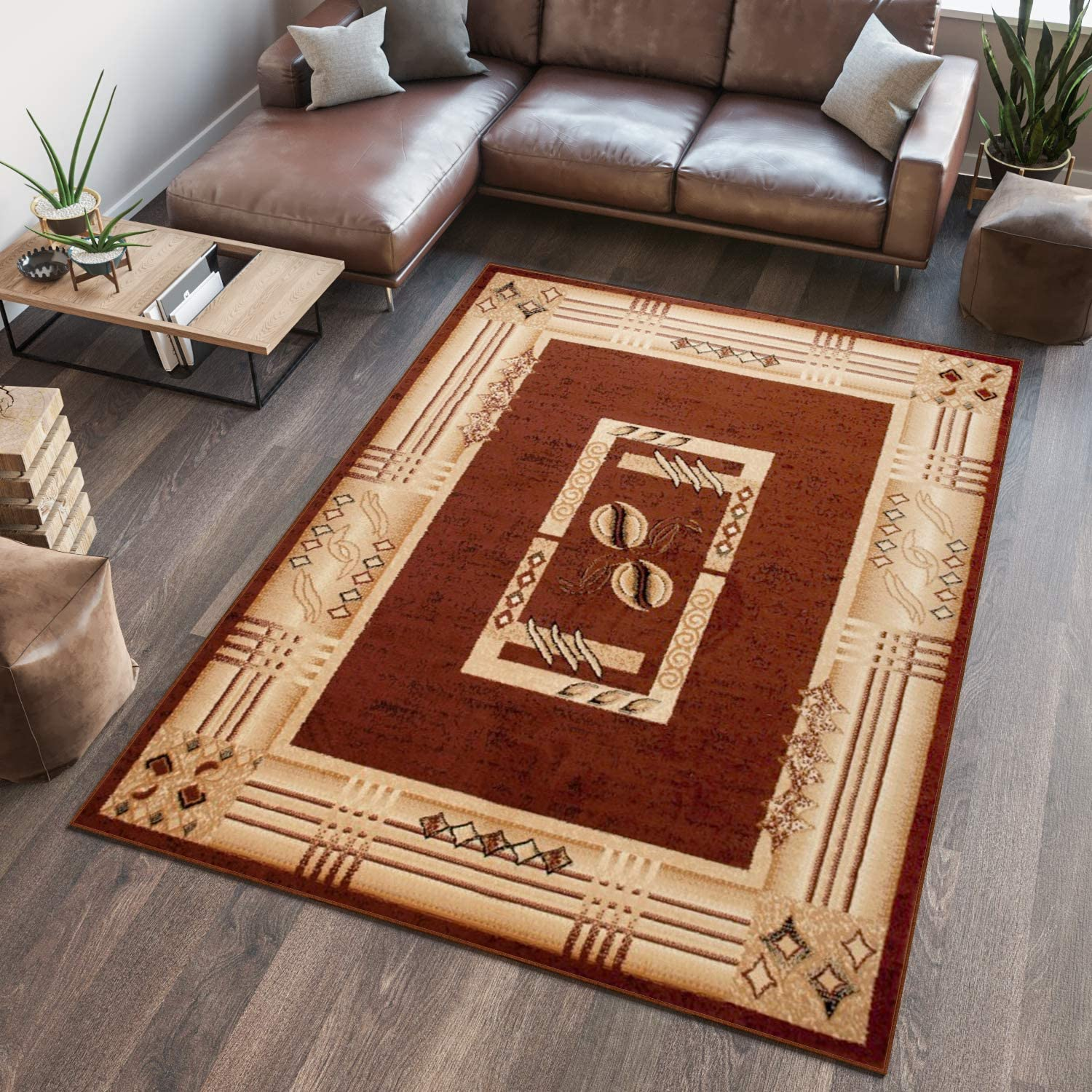 140 x 200 cm Tapiso Area Rugs Living Room Bedroom Red Beige Traditional Frame Pattern Durable Carpet Atlas Collection Size 4ft7 x 6ft7