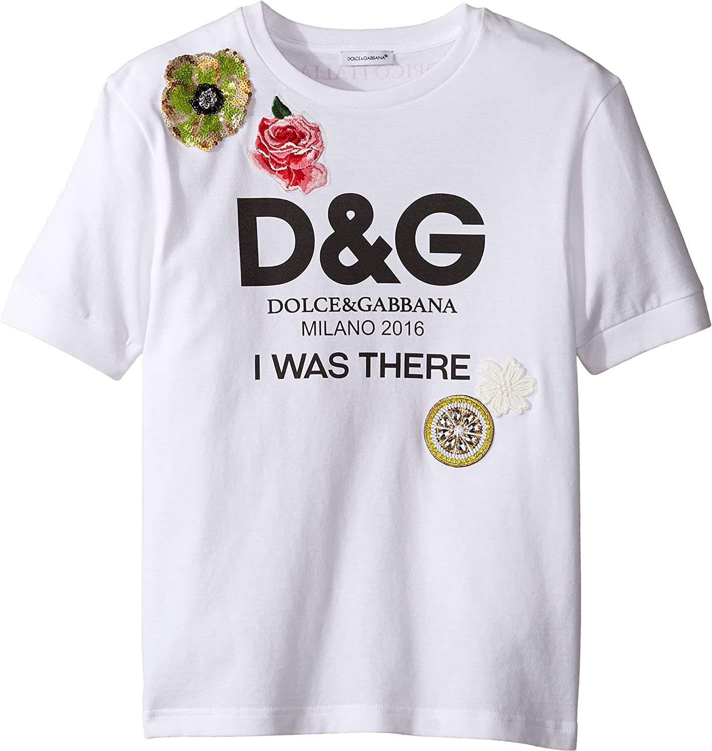 f72b73210 Amazon.com: Dolce & Gabbana Kids Baby Girl's I was There Tee (Toddler/Little  Kids) White Print T-Shirt: Clothing