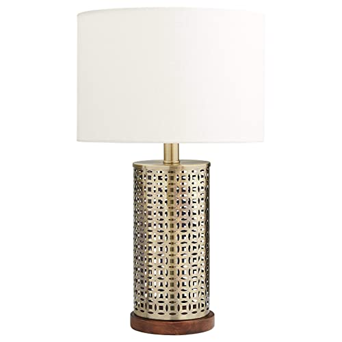 Stone Beam Mid Century Modern Cut Out Table Lamp With Light Bulb – 12 x 12 x 20 Inches, Antique Brass with Linen Shade