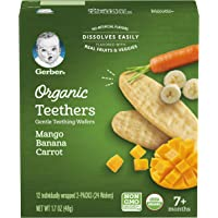 GERBER Organic Teethers Mango Banana Carrot, 48g, Pack of 12
