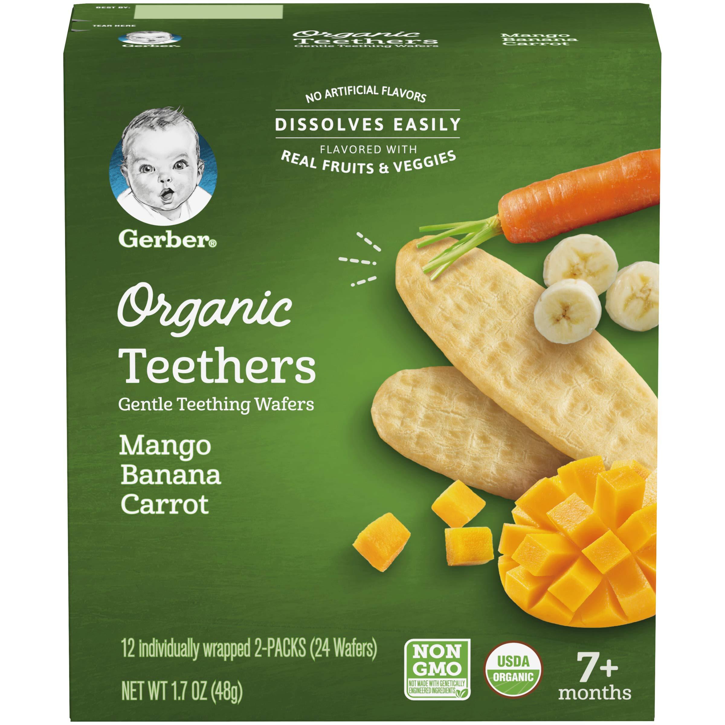 Gerber Organic Teethers, Mango Banana Carrot, 12 count Box, 1.7 Oz