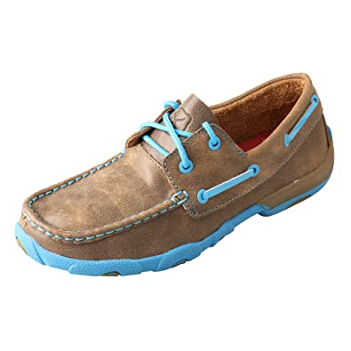 0dddc38c82b Twisted X Women s Driving Moccasins Bomber Neon Blue - Authentic Leather  Outdoor Footwear 5.5M