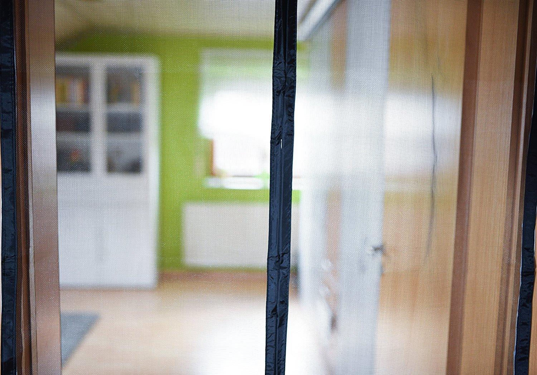Terrassent/ür /& Wohnwagen Klebe- /& Klettband Insektenschutz 120 x 220cm inkl Door easy Fliegenvorhang - Fliegengittert/ür mit Magnet zum automatischen Schlie/ßen Insektenschutz f/ür Balkont/ür