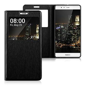 kwmobile Funda para Huawei P9 Plus - Case Protectora con Tapa y Visor - Carcasa Plegable con Ventana en Negro