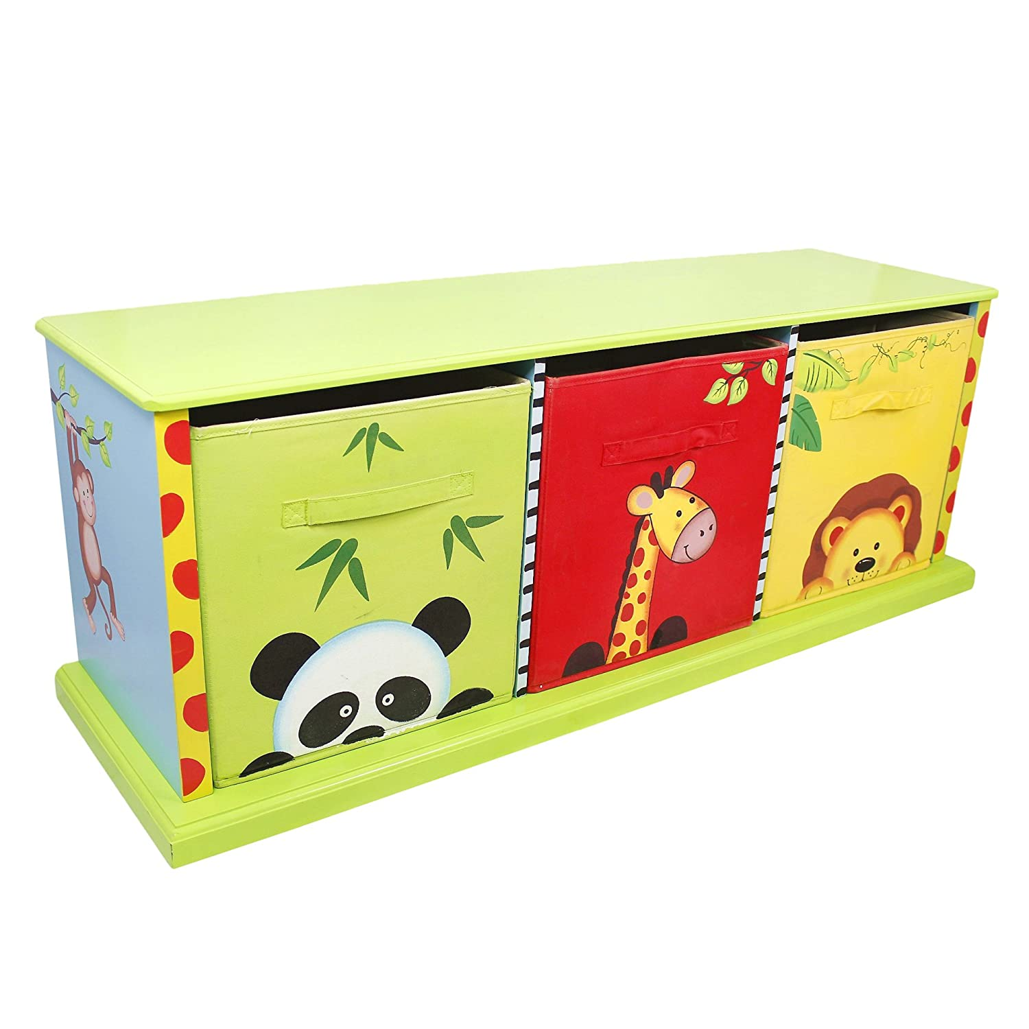 Fantasy Fields - Sunny Safari themed Wooden Drawer Cubby with 3 Canvas Drawers |Hand Crafted & Hand Painted Toy Storage Unit Toybox | Child Friendly Water-based Paint Fantasy Fields By Teamson TD-0131A