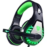 Pacrate Stereo Gaming Headset for PS4, Xbox One, PC with Noise Cancelling Mic - Surround Sound Gaming Headphones - Soft Memor