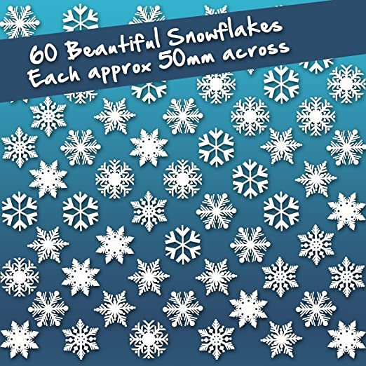 Stickers4 60 individual snowflake window cling stickers seasonal christmas window decorations by amazon co uk kitchen home