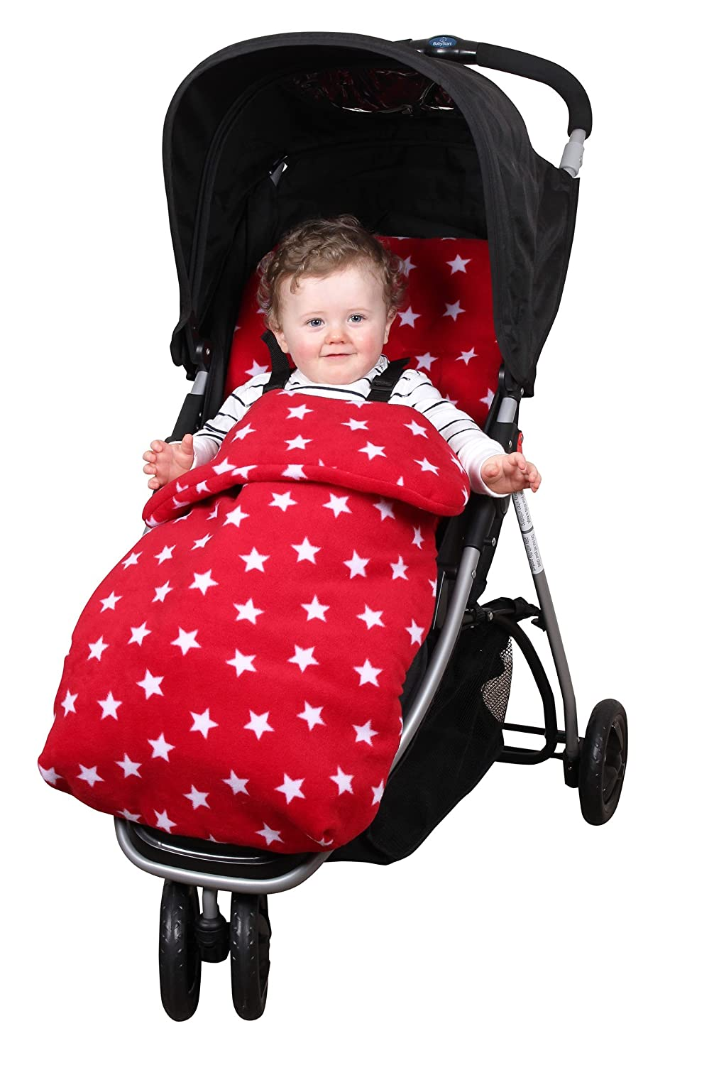 Clair de Lune Red Star Fleece Universal Pushchair Footmuff CL5578RD