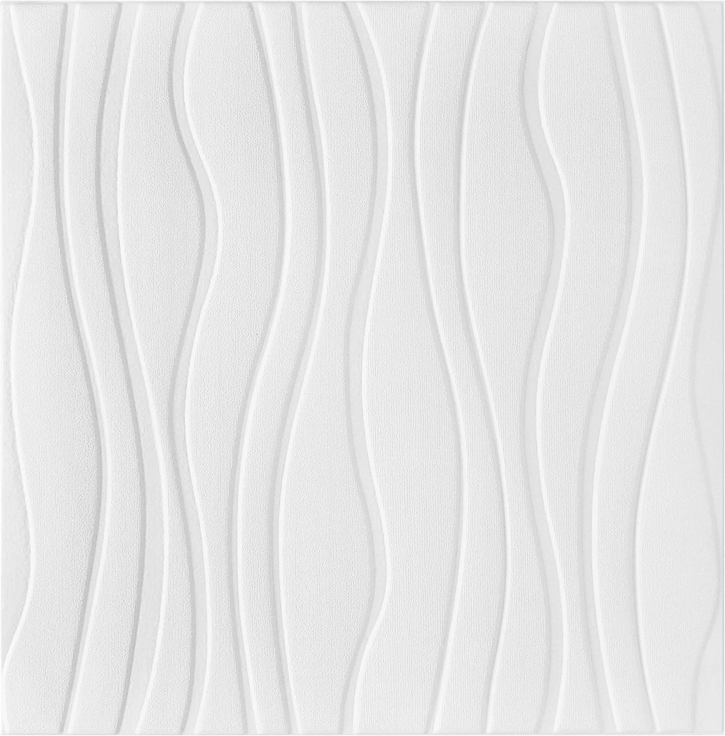Fabulous Décor: Wave Embossed 3D Thick 8mm Wall Panels Soft Foam Peel and Stick Textured Wallpaper Home Decoration, 4-Pack of 2.3ft X 2.3ft Tota 21 SqFt (White)