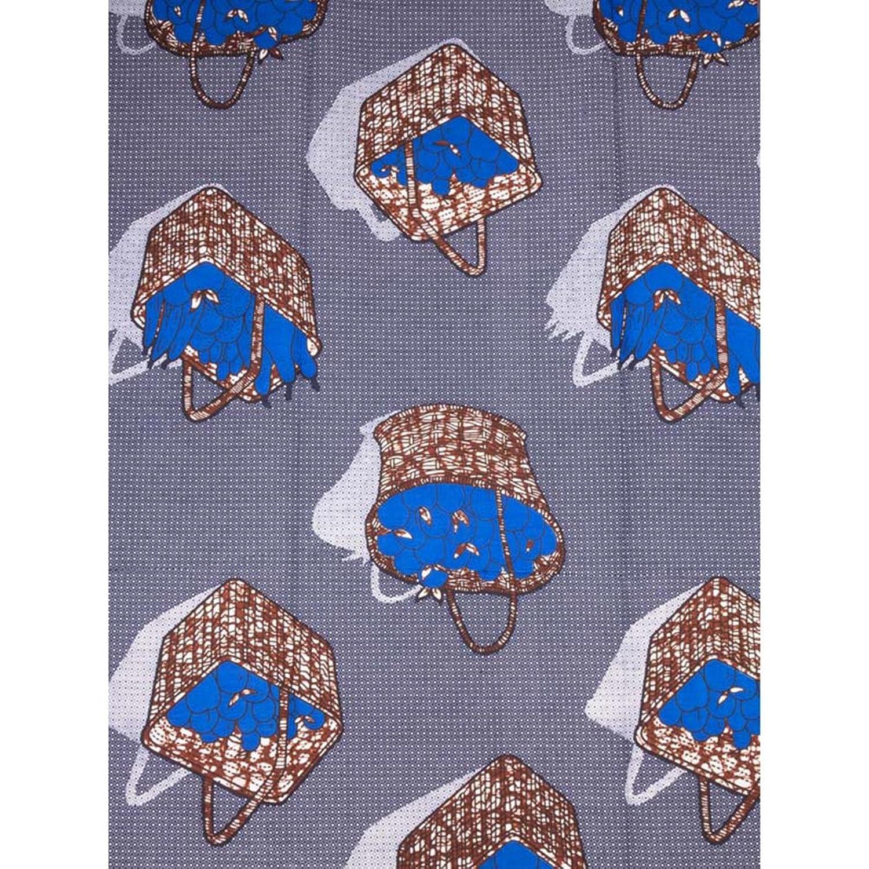 Premier Kente Cloth Real Wax Blue Grey Basket Fruit Birthday Wear rw8014306
