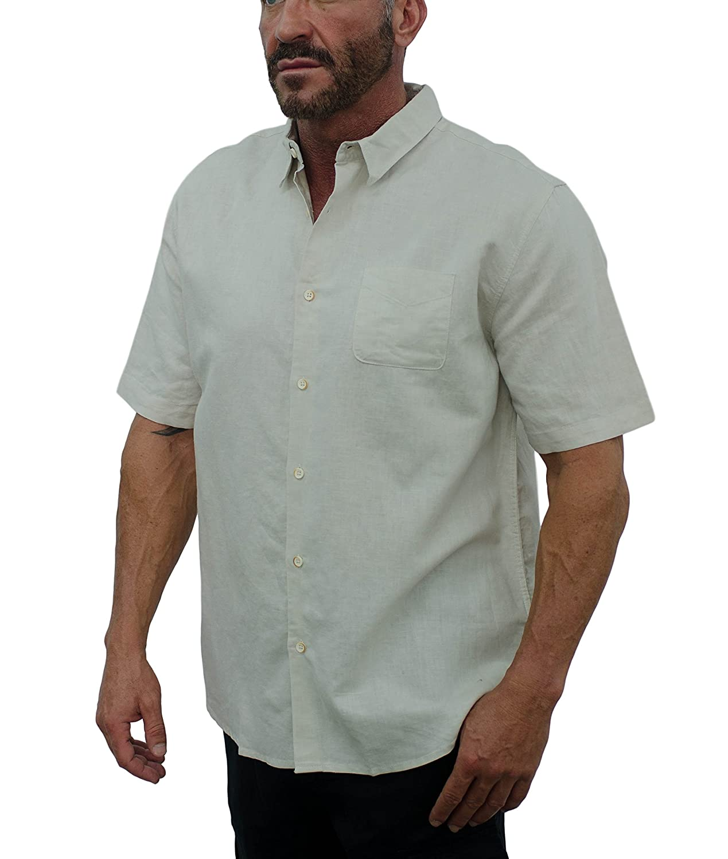Short Fin Mens Short Sleeve Button Down Linen Shirt