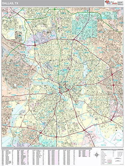 Amazon.com: Dallas, TX City Wall Map (Premium Style, Laminated ...