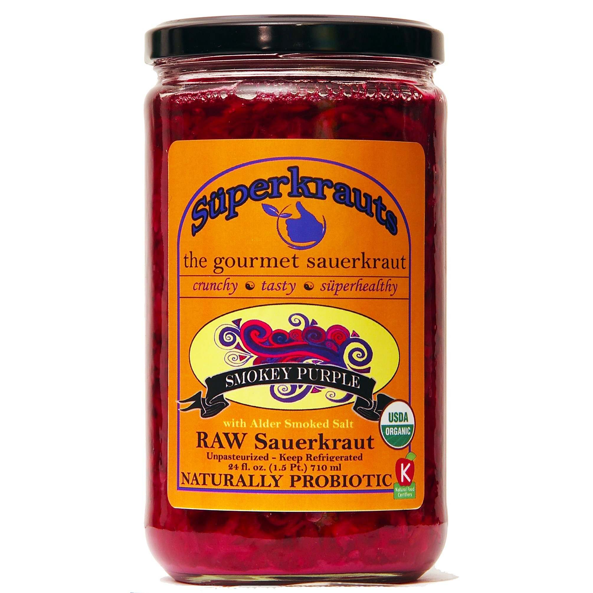 """Smokey Purple"" gourmet sauerkraut: organic, raw fermented, unpasteurized, probiotic, kosher, vegan and gluten free. 24 fl. oz, 16 flavors available. No shipping charges with minimum."