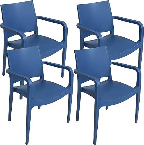 Sunnydaze Landon Plastic Patio Dining Armchair Seat