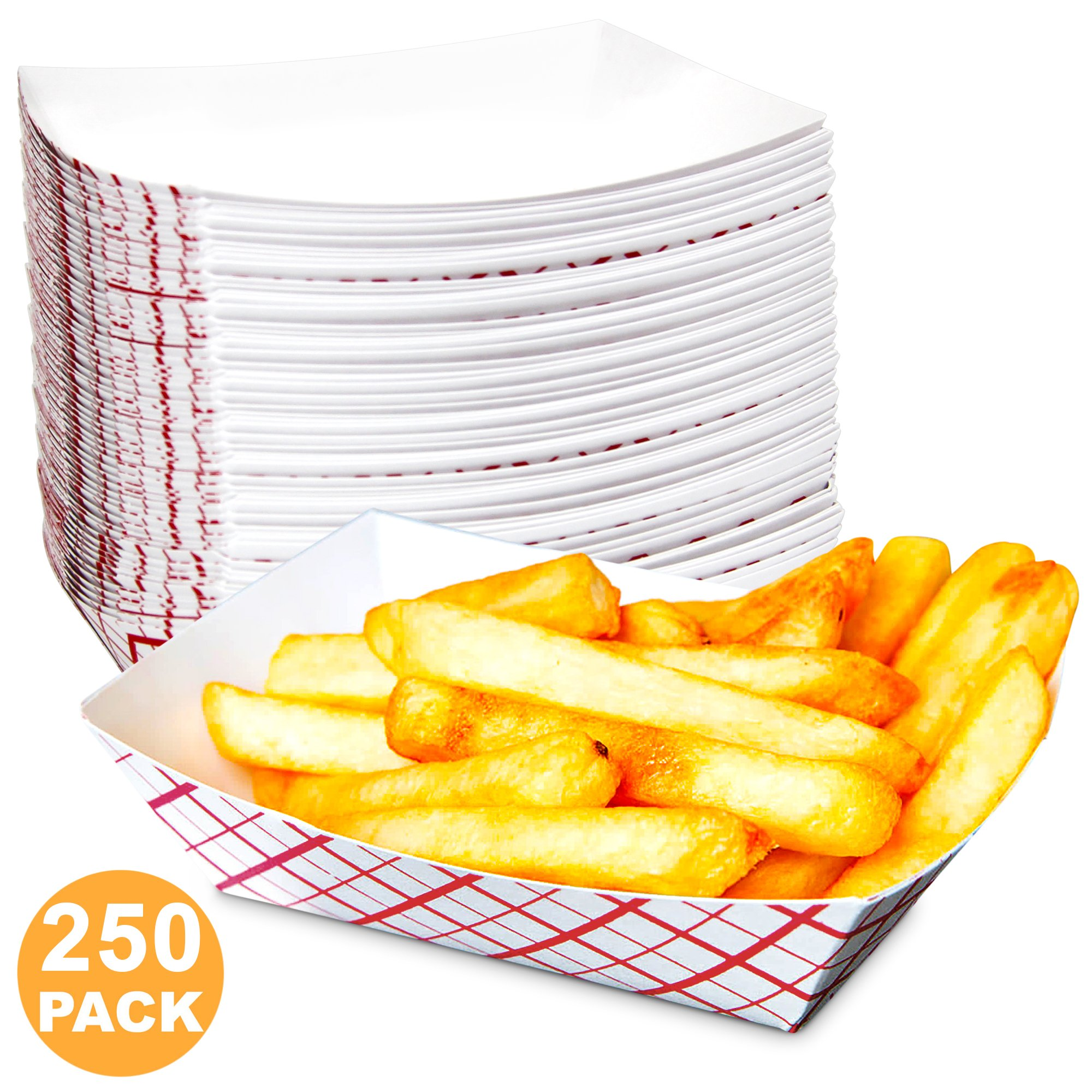 0.5 lb Heavy Duty Disposable Red Check Paper Food Trays Grease Resistant Fast Food Paperboard Boat Basket for Parties Fairs Picnics Carnivals, Holds Tacos Nachos Fries Hot Corn Dogs [250 Pack]
