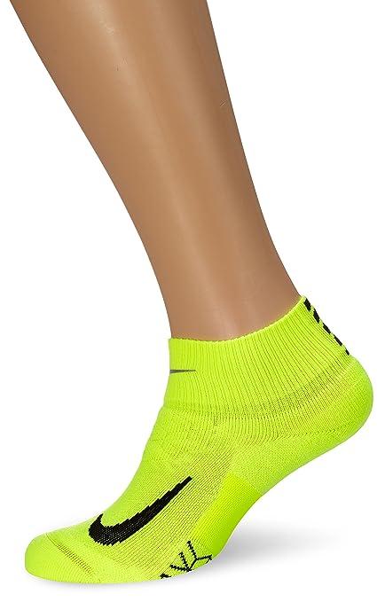 cc0ec0028 Amazon.com : Nike Elite Cushion Quarter Running Socks Volt/Black Quarter  Length Socks Shoes : Everything Else