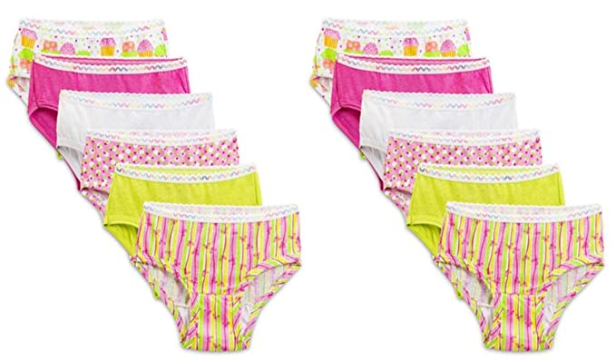 FRUIT OF THE LOOM TODDLER GIRLS HIPSTER PANTIES 12-PK ASSORTED (4T)