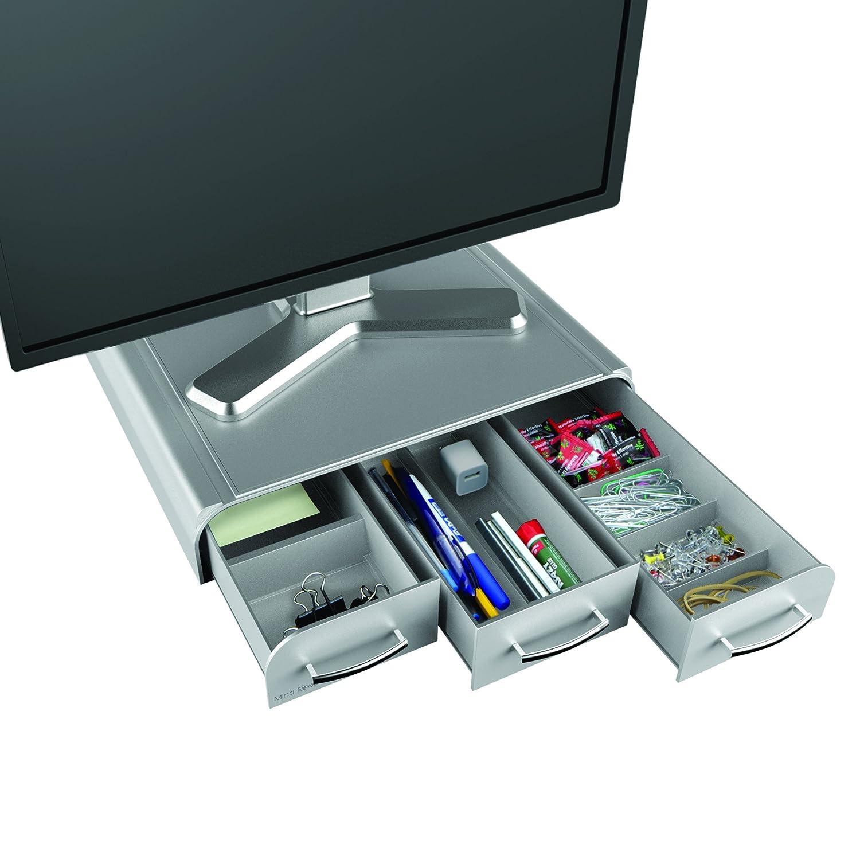 Mind Reader ' Perch' Pc Laptop IMac Monitor Stand and Desk Organizer, Black MONSTA3D-BLK