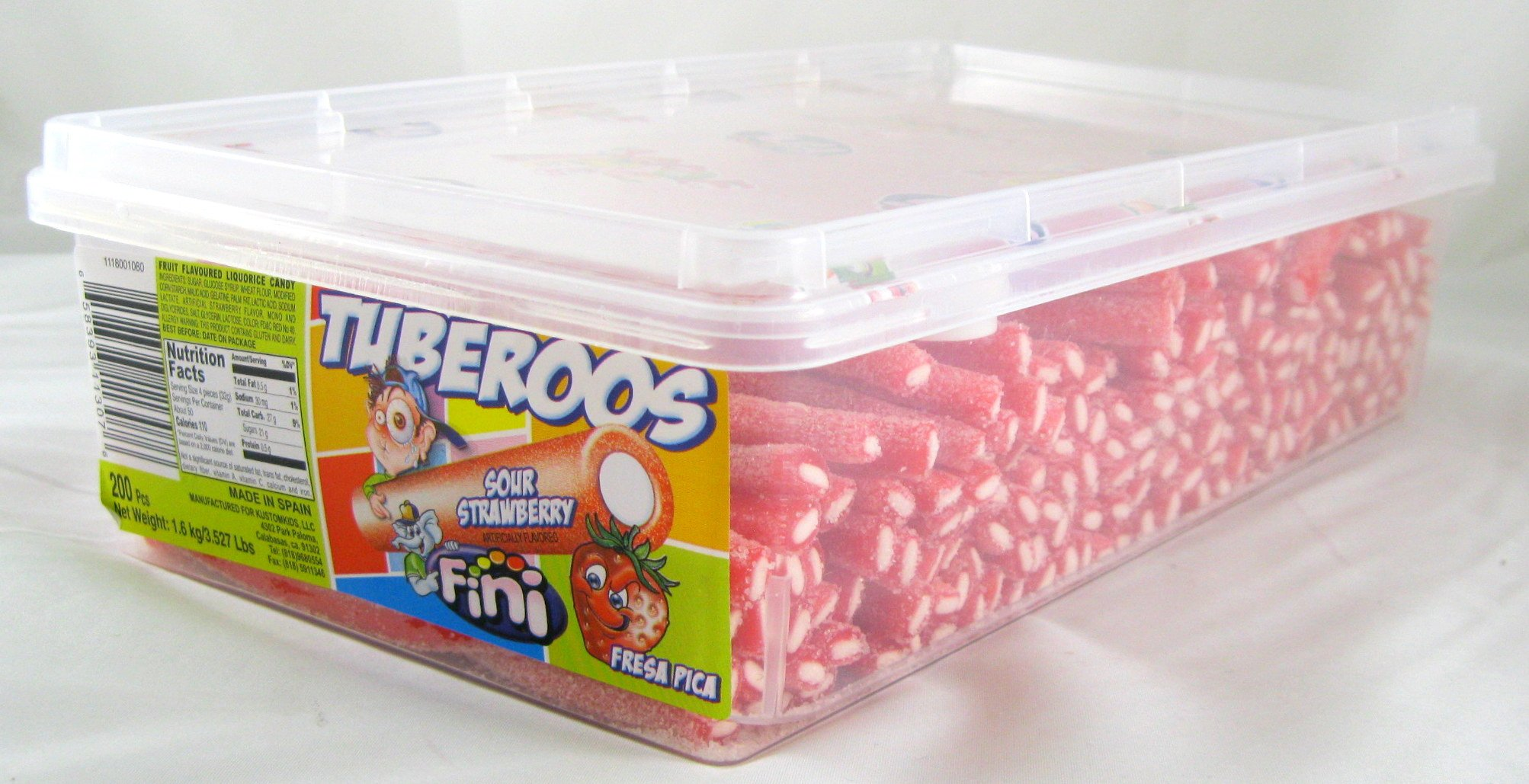 Tuberoos Red Color White Fondant Filled Sour Licorice Sticks, Strawberry Artificially Flavor. - 200 Pieces Tub by Fini