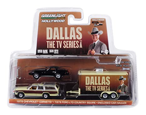 1979 Ford LTD Country Squire Wagon & 1978 Chevrolet Corvette & Enclosed Car  Hauler Dallas (1978-1991) TV Series 1/64 Diecast Models by Greenlight