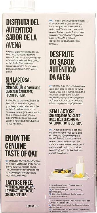 Costa Bebida de Avena 1000 ml - Pack de 6: Amazon.es: Alimentación ...