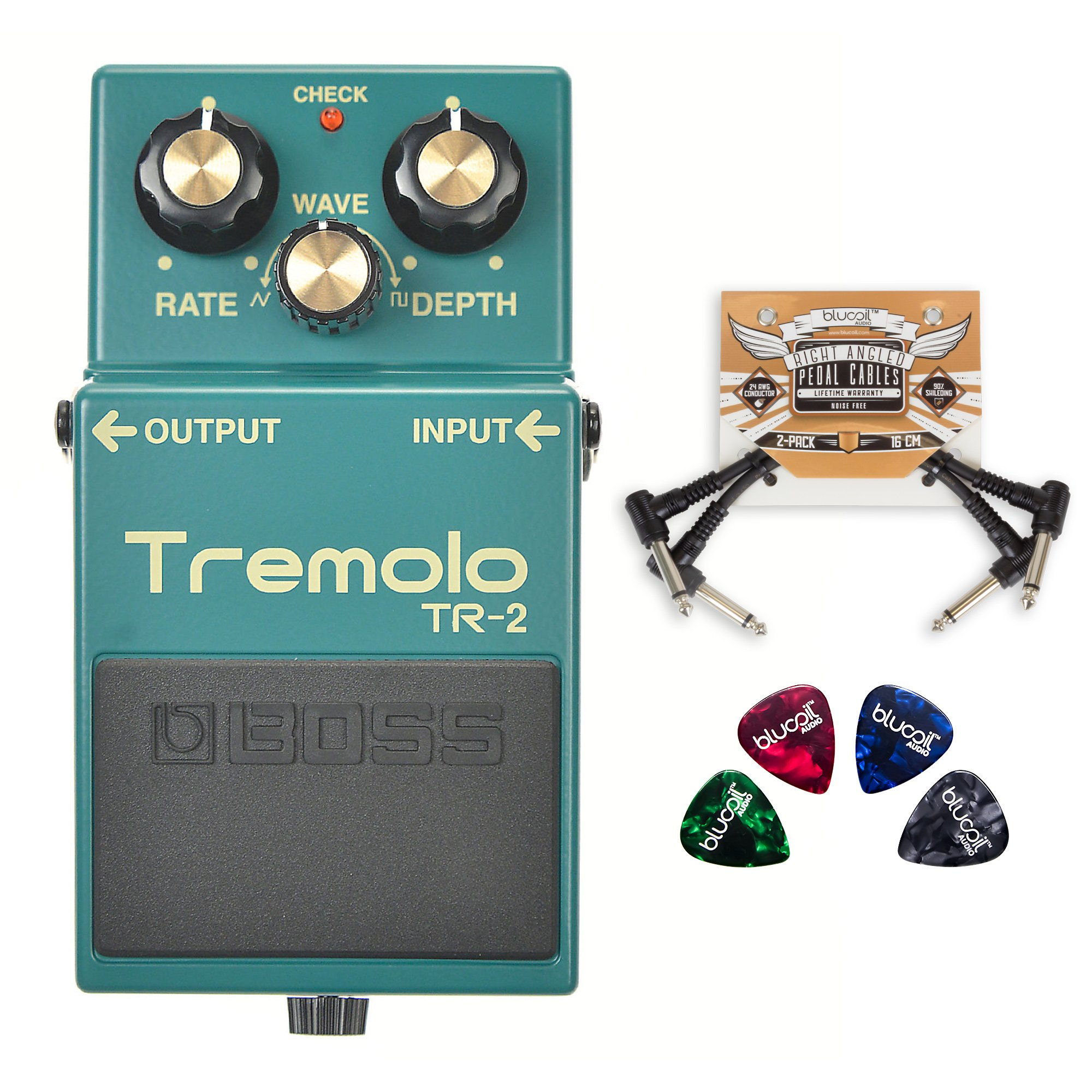 BOSS TR-2 Tremolo Pedal with Wave Control -INCLUDES- 2-Pack of Blucoil Pedal Patch Cables AND 4 Guitar Picks by blucoil
