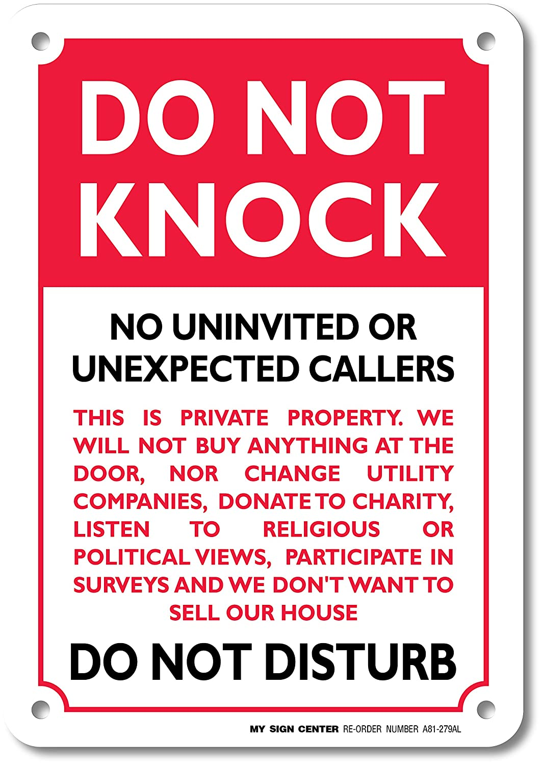 photo relating to Do Not Disturb Sign Printable named Do Not Knock Do Not Disturb Indication - No Soliciting - 10\