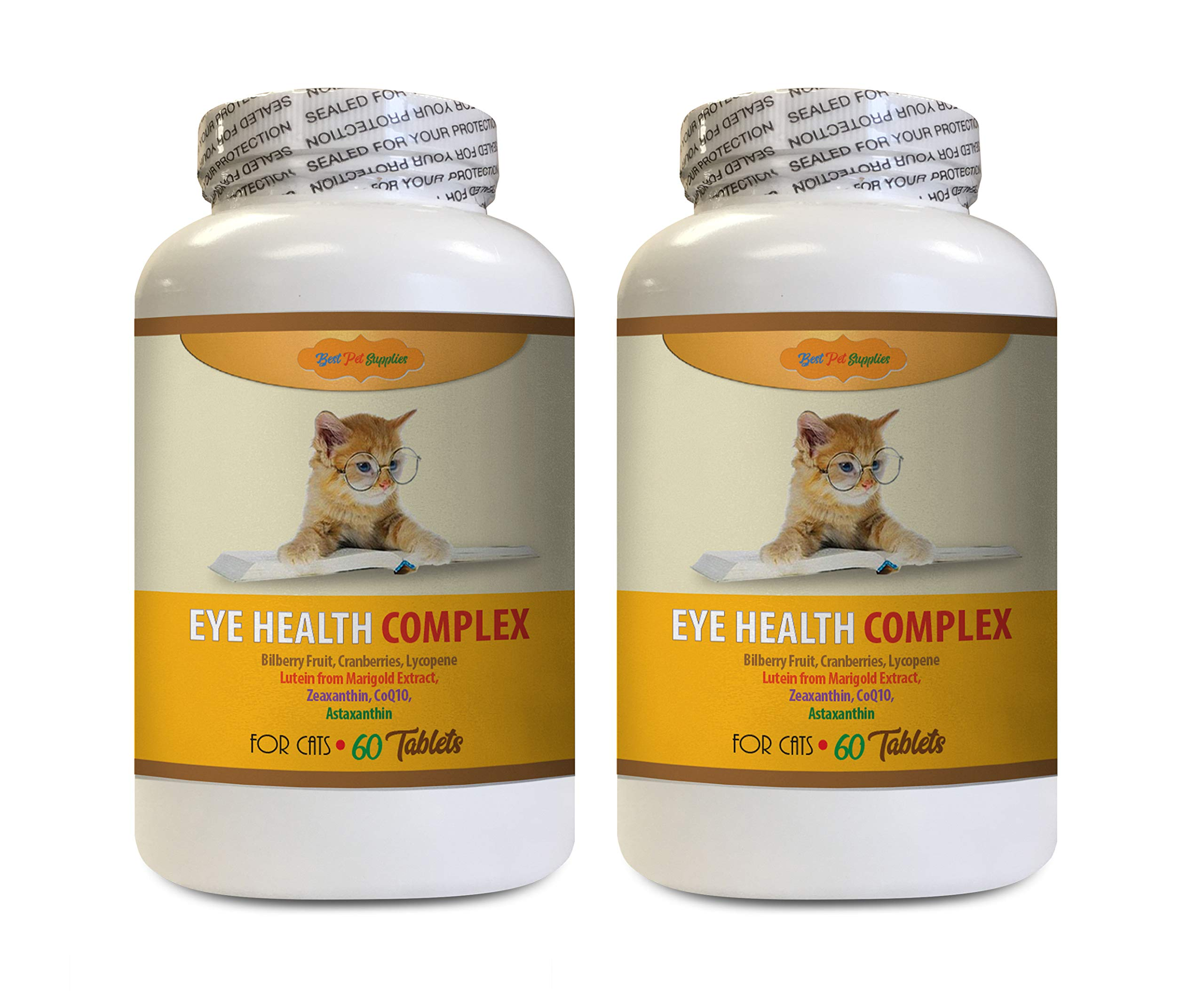 Eye Supplement for Cats - CAT Eye Health Support - Best Immune System AID - Powerful Ingredients - Amazing Vision Care - Vitamin c for Cats Pills - 2 Bottles (120 Tablets) by BEST PET SUPPLIES LLC