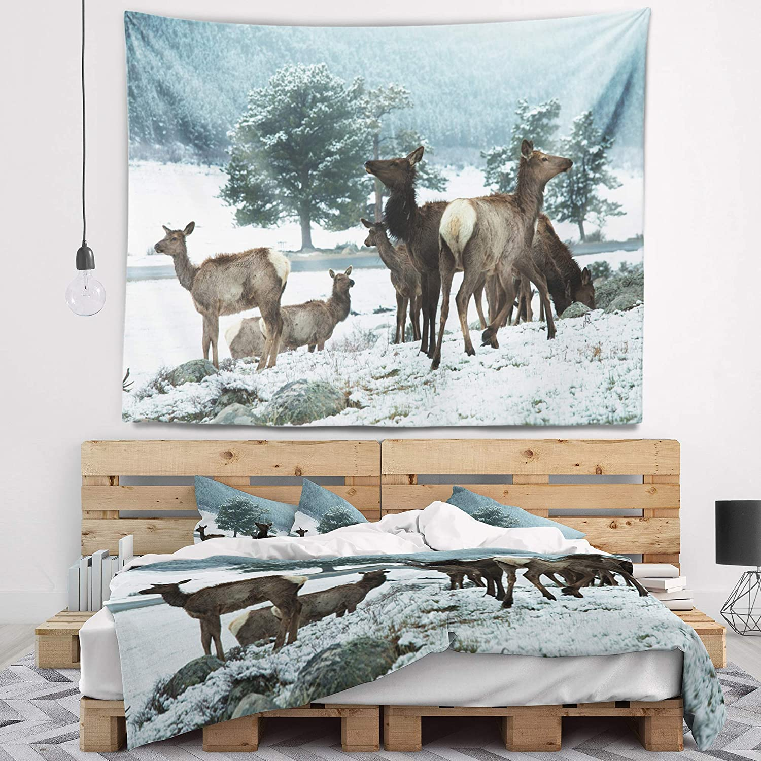 Designart TAP12436-60-50  Gang of Deer in Rocky Mountains Landscape Blanket D/écor Art for Home and Office Wall Tapestry Large x 50 in in 60 in