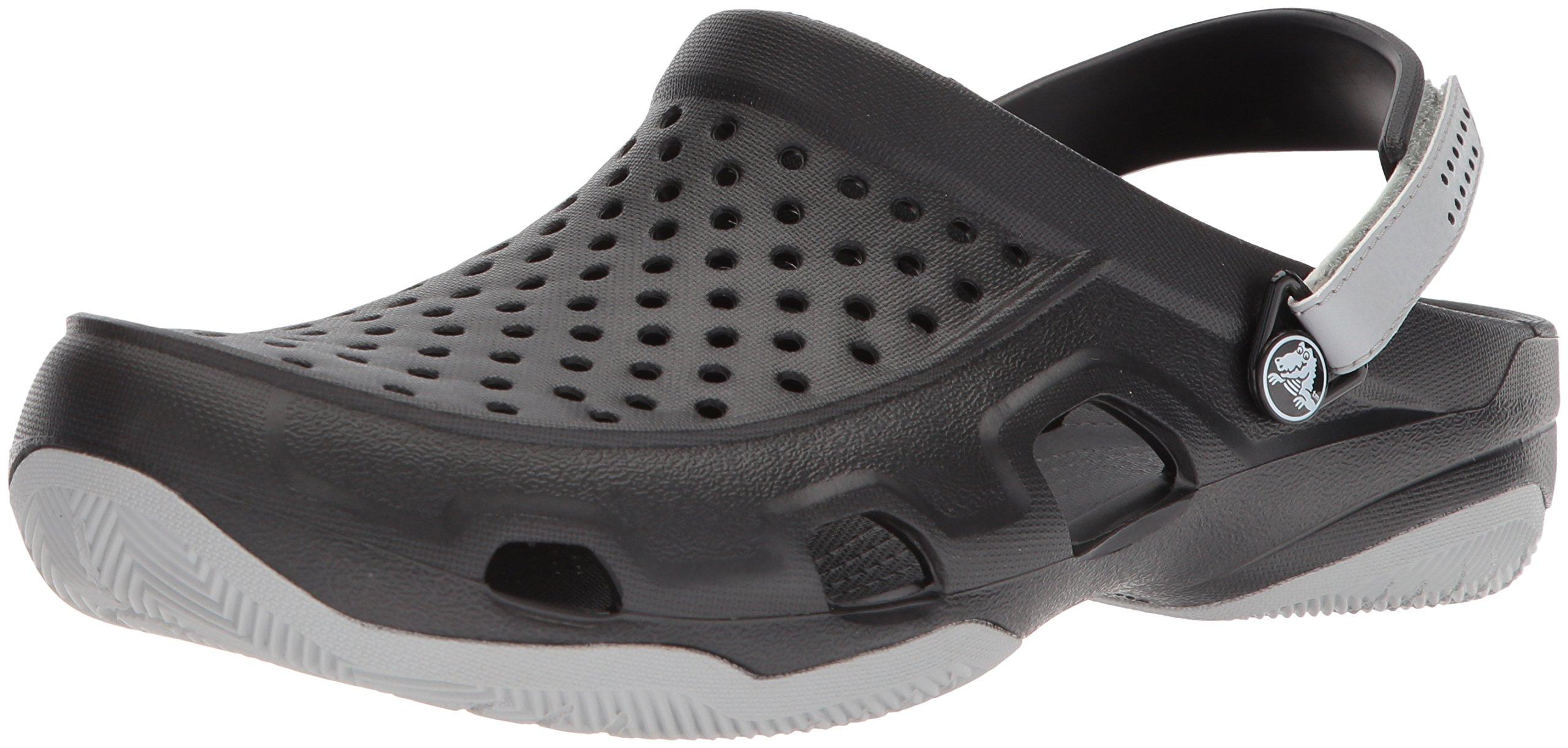 Crocs Men's Swiftwater Deck Clog M Mule, Black/Light Grey, 12 M US