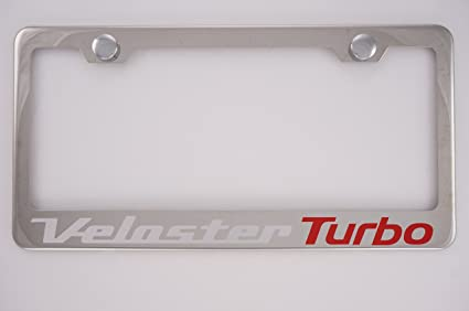 Hyundai Veloster Turbo Chrome License Plate Frame with Caps