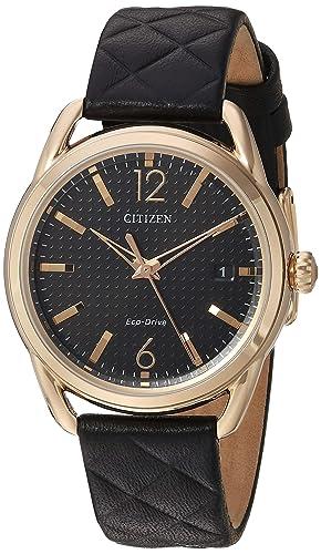 Citizen Eco-drive de las mujeres correa de cuero reloj: Amazon.es: Relojes